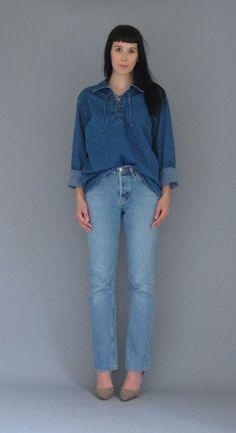 VTG 1990's Denim Lace Up Top Blousey Loose Fit by reapervintage