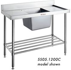 commercial sink bench simply stainless ss050600 single sink bench wwwhoskit - Kitchen Sinks Sydney