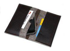 Tasche für 2 Handies, Kreditkarte etc. Praktisch und schön aus Leder & Filz.