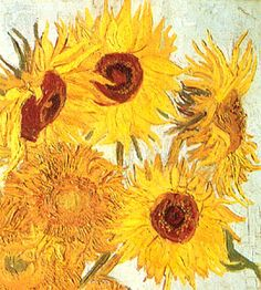 Vincent van Gogh:  Looks to be part of the painting: Still Life ~ Vase with Twelve Sunflowers.  Oil on canvas.  Arles: January, 1889.  Philadelphia: The Philadelphia Museum of Art.