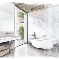 Contemporary bathroom design by … – Architektur Interior Architecture Drawing, Interior Design Renderings, Interior Rendering, Interior Sketch, Best Interior Design, Architecture Design, Classic Interior, Design Scandinavian, Contemporary Bathroom Designs