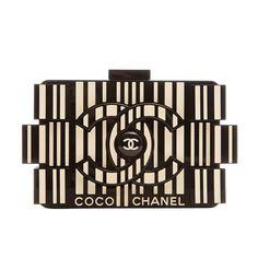 Chanel Runway Barcode Black And White Plexiglass Lego Clutch Bag by Hermes Vintage Chanel Clutch, Chanel Handbags, Fashion Handbags, Designer Handbags, Designer Purses, Women's Handbags, White Clutch, White Handbag, Chanel Lego
