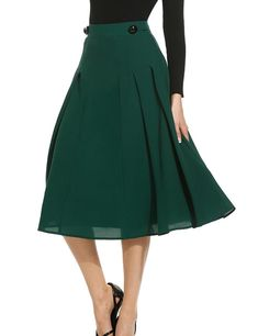 ANGVNS Women's Casual High Waist Pleated Swing A-Line Midi Skirt With Button Decor Zipper Closure
