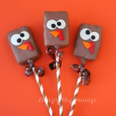 No one will be able to resist these adorably cute and slightly silly looking Rice Krispie Treat Turkeys. With their googly eyes each chocolate dipped cereal treat decorated with modeling chocolate will delight your Thanksgiving dinner guests.