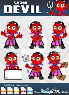 Cartoon Devil Chacater �20Set 1 by Design_Wolf Set 1 of 2 of my Cartoon Devil Character, each set contains 6 different poses. �20Formats Available: Ai  Eps-10  PSD  Jpeg  Png �20