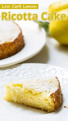 """Lemon Ricotta Cake is an easy Italian cake made from ricotta cheese and almonds. This gluten-free flourless cake can be made with or without leavening. This sugar-free recipe is perfect for low carb and keto diets."" Low Carb Lemon Ricotta Cake – You must Ricotta Dessert, Lemon Ricotta Cake, Ricotta Cheesecake, Gourmet Recipes, Low Carb Recipes, Cake Recipes, Dessert Recipes, Dinner Recipes, Snack Recipes"