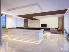 Interior design of this residence reflects the fusion of creamy tones and elements of glamour and exclusivity of the Arab world. Interiores Design, Kitchen Island, Glamour, Dream Kitchens, Lights, Design Kitchen, Luxury, Designer, Home Decor