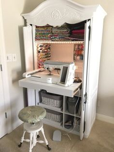 DIY Sewing Cabinet From An Old Media Armoire | Remodelicious.com #repurposedfurnituredesk