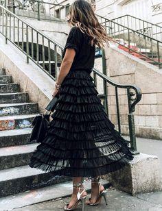 Décliné en noir, le jupon plumetis à volants gagne en portabilité (jupon H&M - photo Collage Vintage)