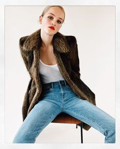 ISSUE N°45 THE PERFECT COAT @jean_campbell photographed by @angelopennetta Fur coat @balanciaga Vest top @filippa_k Denim jeans @mihjeans Styling by @sarrjamois Hair by @rudilewis Makeup by @LottenHolmqvist #issue45 #selfservicemagazine