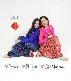 Phulkari Patiala Salwar modelled by Aman chahal and Bir Kaur Dhillon.