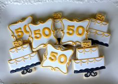 Anniversary Celebration Sugar Cookies by NotBettyCookies Fancy Cookies, Cut Out Cookies, Iced Cookies, Cupcake Cookies, Sugar Cookies, Cupcakes, Anniversary Cookies, 50th Wedding Anniversary, 50th Birthday Party