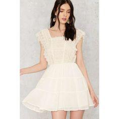 Strange Love Crochet Mini Dress ($35) ❤ liked on Polyvore featuring dresses, white dress, textured dress, tiered dresses, square neckline dress and macrame dress
