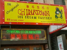 "Chinatown Ice Cream Factory 65 Bayard St New York, NY 10013 http://www.yelp.com/biz/chinatown-ice-cream-factory-new-york?osq=Max+%26+Mina%27s Flavors: Almond Cookie, Black Sesame, Durian, Ginger, Lychee, Mango, Pandan, Pineapple, Red Bean, Taro / Ube, Zen Butter, Banana, Pumpkin Pie, Chocolate Bacon... Photo by Christina S. ""CICF signs are designed by the children at CPC 124."""