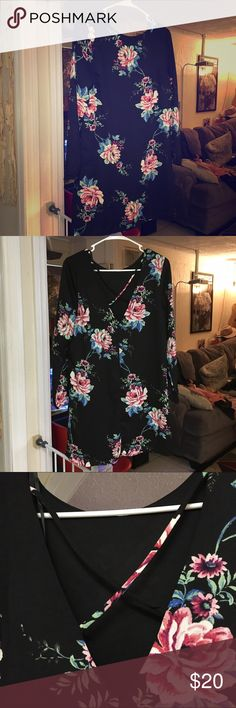 Adorable mini dress with open back detail I love this adorable little mini 3/4 sleeve floral mini, very fresh. Not great for large bust, makes the back detail too constrained. One love clothing Dresses Mini