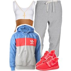 A fashion look from January 2015 featuring adidas hoodies, NIKE shoes and Sterling Essentials necklaces. Browse and shop related looks.
