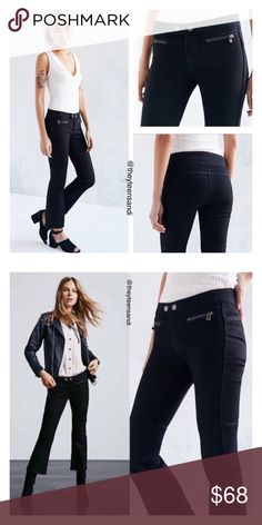 """Urban Outfitters Black Moto Crop Kick Flare Jean Femme-fierce cropped kick flares with classic moto styling in a UO-exclusive design by none other than BDG. In a low-rise, skin tight fit that flares out at the bottom. Features paneled knees + mini lock-topped zip pockets at the hips. Finished with a dual-snap zipper fly. Cotton, polyester, spandex. Machine wash. Model is 5'10"""" and wearing size 26. Measurements taken from size 25 = Rise: 7"""". Waist: 26"""". Inseam: 25"""". Suede handbag on model…"""