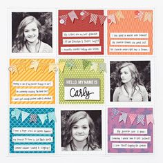 really cute & FUNN Close To My Heart layout My Name is Carly ...use this idea for a card?