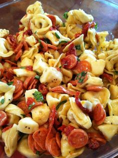 Tortellini, pepperoni, fresh cubed mozarella, basil and dressing
