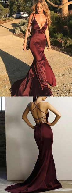 gorgeous mermaid prom party dress, backless burgundy evening