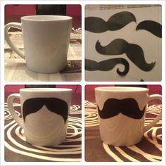 Homemade Moustache Mug , it's very easy #moustache #mustache #mug