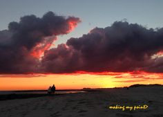 """Photo of the Week 20131021 """"A Walk Under The Clouds""""  A couple strolls the beach at sunset under these phenomenally colored and backlit clouds September 13, 2013. taken with iPhone 5 at Civic Beach, Point Lookout, NY  Hi resolution photo at  http://makingmypoint.wordpress.com/2013/10/21/photo-of-the-week-20131021/"""