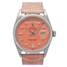 ROLEX White Gold Pink 'Stella' Dial Day-Date with Diamonds
