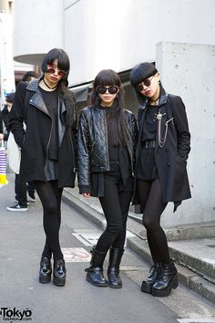"We met this group of stylish dancers during Japan Fashion Week. We snapped them as part of a project for Vogue.com. Their names are Aya Sato, Bambi, and Kotoha. You might recognize Aya & Bambi from the BOA ""Shout It Out"" music video, or other projects they've worked on together."