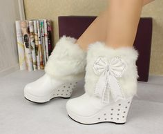 Stunning Faux Fur and Rivets Design Short Boots
