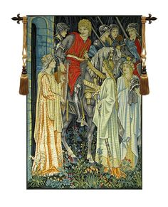 The Holy Grail Left Panel Tapestry Wall Hanging - This is one of six panels woven in Belgium originally by Morris and Co., illustrating the departure in this Tapestry, The Holy Grail. We can see Sir Galahad, Sir Bors and Sir Percival, all Knights of The Round Table saying good byes as they get ready to depart for the long mission to find The Holy Grail.