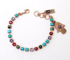 AMARO Goud plated Armband met Blauw en Paars edelstenen en Hamsa s20020