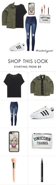 """""""Adidas Superstar Outfit"""" by carleelingard ❤ liked on Polyvore featuring True Religion, Vans, adidas, Forever 21, Maybelline, Guerlain and NARS Cosmetics"""