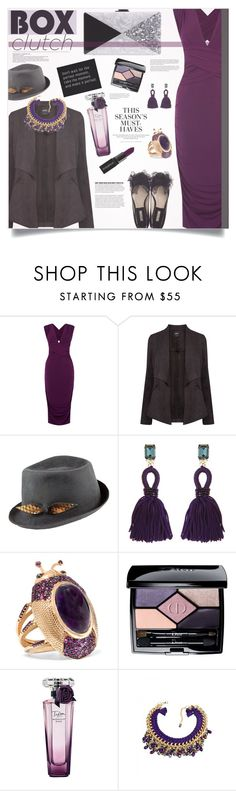 """What's hot: Date-Ready Box Clutches."" by sinesnsingularities ❤ liked on Polyvore featuring Oasis, Justine Hats, Edie Parker, Oscar de la Renta, Daniela Villegas, Christian Dior, Lancôme, H&M, Smashbox and women's clothing"