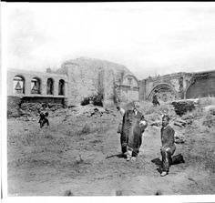 Four men among the ruins of the Mission San Juan Capistrano, 1886 :: California Historical Society Collection, 1860-1960