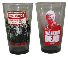 AMC The Walking Dead Warning 2pk Zombie Pint Glasses ` Perfect for the Walking Dead fans #beer #zombie