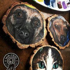 Wood Slices, Mom Birthday, Original Artwork, Coasters, Pets, Painting, Instagram, Mum Birthday, Drink Coasters