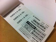 Últimos trabajos: diseño e impresión de talonarios de rifas c/ 3 pagos