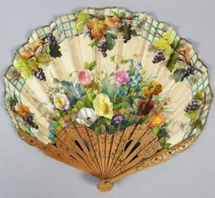 Antique 19c Victorian French Carved Wooden Hand Painted Silk Floral Hand Fan