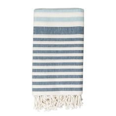Evenly spaced rows of color are softened by a tassel fringe in this Stripe Throw Blanket from Threshold. This striped sofa blanket looks chic thrown over the back of your couch and is cozy when you need it. Blue Towels, Cotton Towels, White Throw Blanket, Sofa Blanket, Throw Blankets, Blue Bath, Looks Chic, Color Beige, Cotton Throws