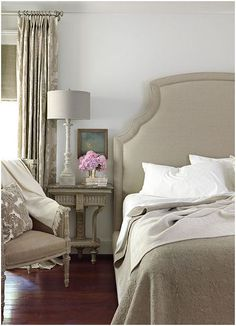 Tracery Interiors from House Beautiful. Natural linen colors. Elegant and relaxing.