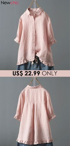 1375792452387 Lace Button Turn Down Collar Solid Color Shirt look not only special