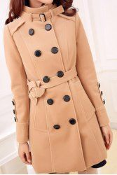 Double-breasted Pockets Beam Waist Long Edition Worsted Solid Color Coat For Women