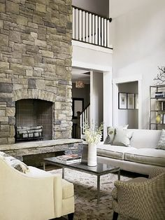 Gorgeous....stone fireplace