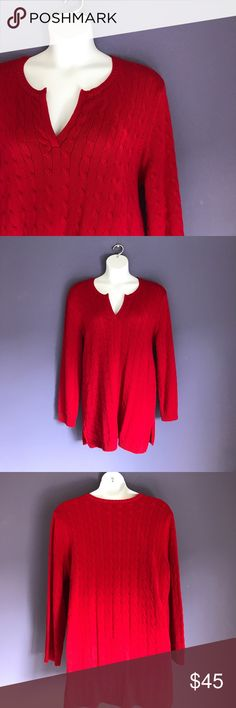 """🆕 Lauren Ralph Lauren Red Cable Sweater NWT - This gorgeous sweater is perfect when you want to make a statement. Pair with jeans, leggings or skirt.  Measurements (Flat):  Length - 33""""/Bust - 26""""/Waist - 24"""" Lauren Ralph Lauren Sweaters"""