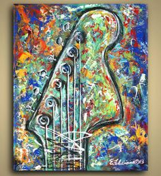 New Original Painting Guitar Painting by NYoriginalpaintings, $200.00