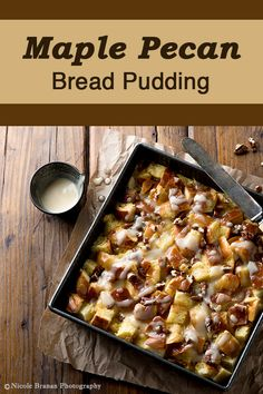 This rich and creamy maple pecan bread pudding is made with challah bread, infused with maple and vanilla flavors and drizzled with a maple cream sauce. Challah Bread Pudding, Bread Puddings, Pudding Desserts, Pudding Recipes, Pecan Recipes, Cooking Recipes, Fall Recipes, Dutch Oven Desserts