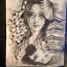 Makaivio Gama Desenhos Geisha Tattoos, Geisha Tattoo Design, Japanese Tattoo Art, Japanese Tattoo Designs, Japanese Art, Tattoo Drawings, Body Art Tattoos, Geisha Art, Tribal Sleeve Tattoos