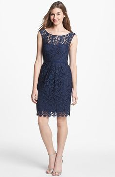 Jenny Yoo 'Harlow' Tea Lace Sheath Dress (Online Only) available at #Nordstrom different for bridesmaids