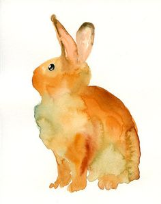 BUNNY Original watercolor painting 8 X10 inch from dimdi on etsy