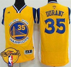 71b06f5bb Warriors  35 Kevin Durant Gold The Finals Patch Stitched NBA Jersey  Basketball Jersey